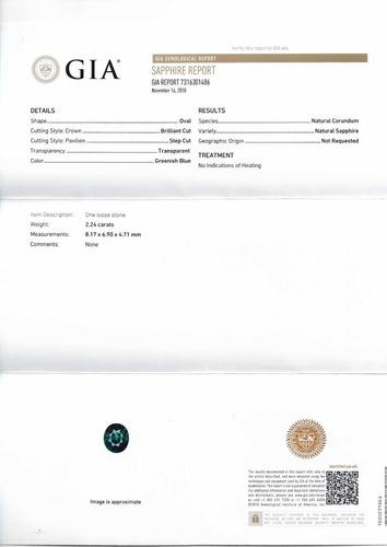 safira natural certificado gia , 2.24 cts , s/tratamento, vs