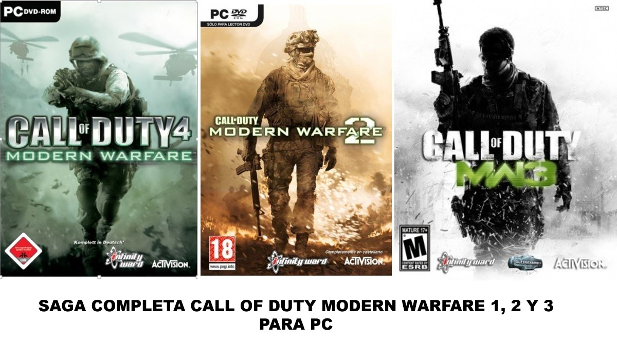 Saga Completa Call Of Duty Modern Warfare 1, 2, 3 Pc Español