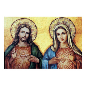 Sagrado Corazon Jesus Y Maria Lienzografia Lienzo Impresion