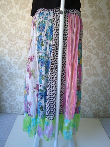 saia chiffon patchwork estampada longa indiana hippie 18