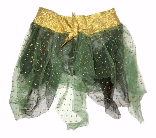 saia cigana verde escura com brilhos fantasias carnaval