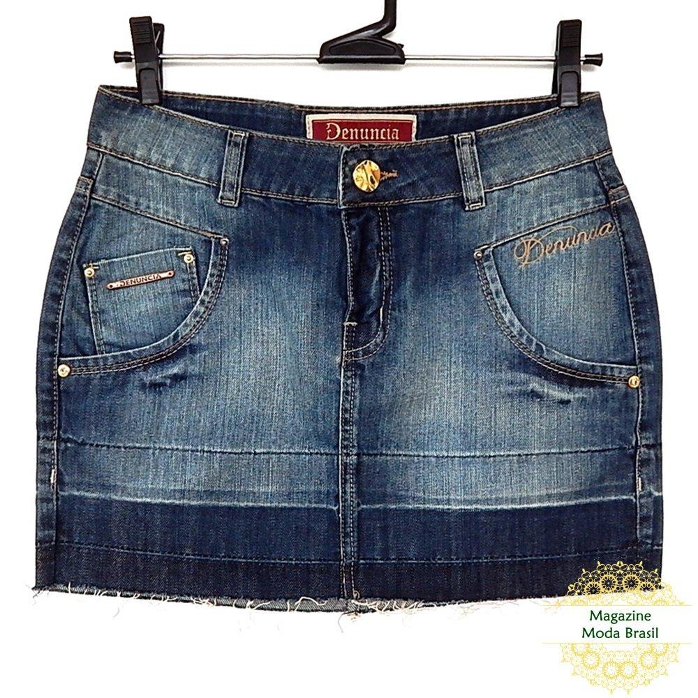 ad168f4de saia curta denúncia jeans barra desfiada. Carregando zoom.