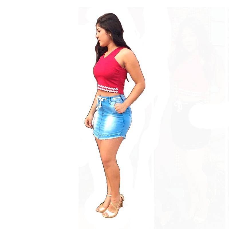 a3e8221a28 saia curta jeans super elegante. Carregando zoom.