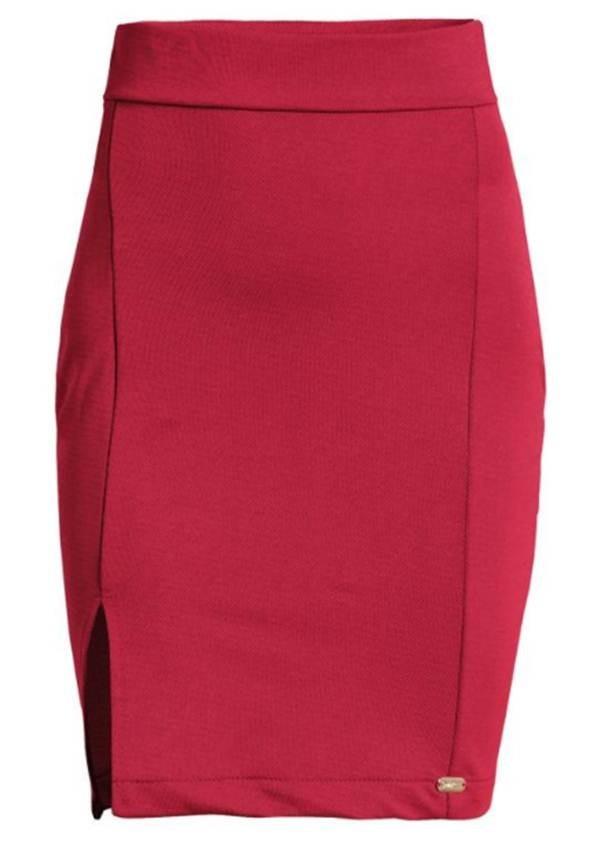 eddfd88951 saia curta vermelha com fenda quintess promoção. Carregando zoom.