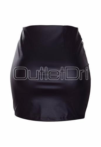 saia curta zíper diagonal reto couro sintético lapís preta