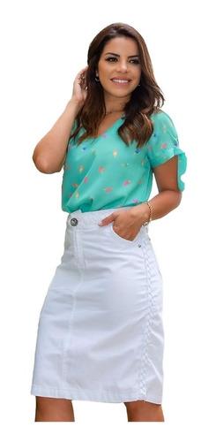 saia evangelica jeans lápis feminina bolsos joyaly moda