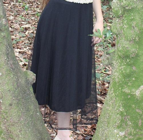 saia feminina gode midi moda evangelica tule forrada