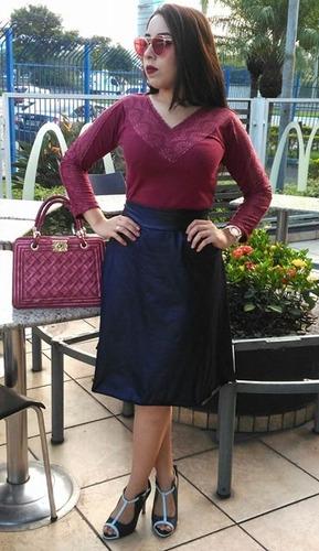 9e982fe9b1 saia feminina midi secretária rodada moda evangélica. Carregando zoom... saia  feminina midi