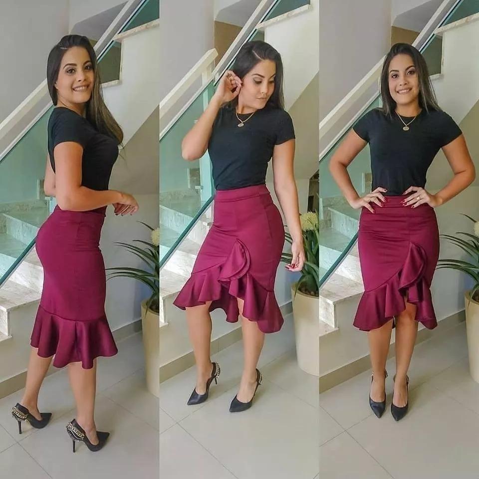 a337543fd kit c/3 saia feminina midi babado duplo roupas evangélicas. Carregando  zoom... saia feminina midi babado roupas. Carregando zoom.