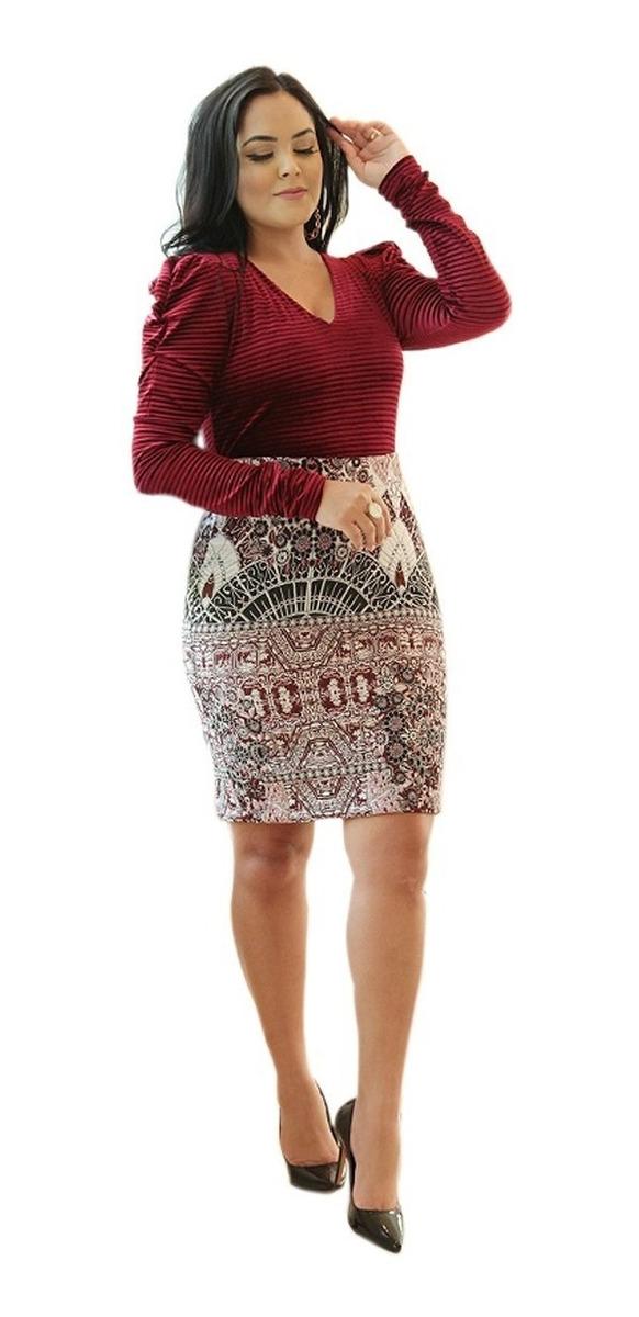 fc95c9572c25 saia feminina midi lápis reta estampa social moda evangélica. Carregando  zoom.