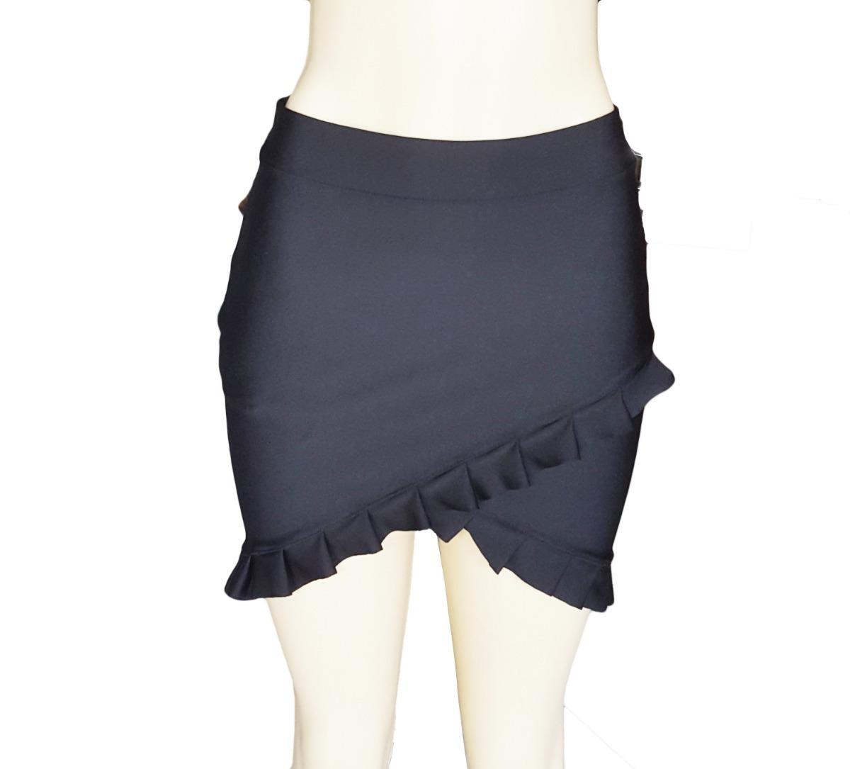31095adacd saia feminina preta lisa media curta justa com babado roupas. Carregando  zoom.