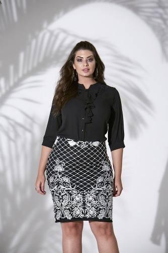 5b69d7862 Saia Feminina Tule Bordado Moda Evangélica Plus Size 36/54 - R$ 229 ...