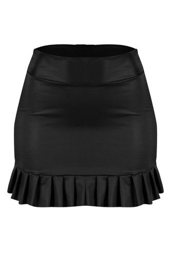saia godê cirrê courino babado roupas femininas 2018