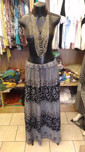 saia indiana longa azul viscose estonada bordada