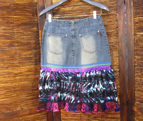 saia jeans 36 kabene viscose barrado renda crochê f8
