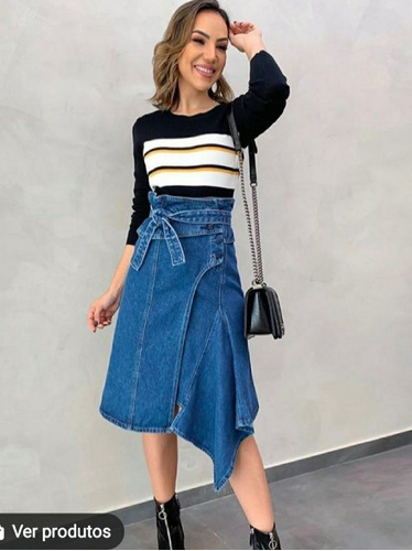 saia jeans assimétrica midi