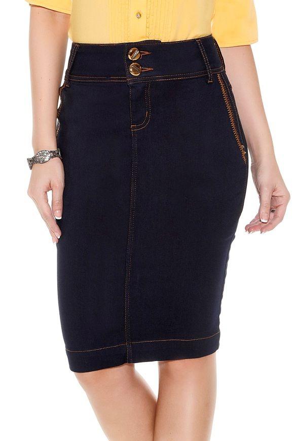 c508e87d43 saia jeans azul escuro bolso faca titanium moda evangelica. Carregando zoom.