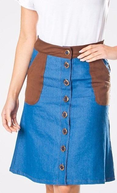 348e00587f Saia Jeans Evase Moda Evangélica Joyaly - R  129
