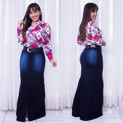 saia jeans longa adc a/c cinto