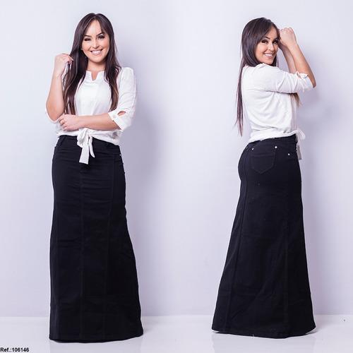saia jeans longa black