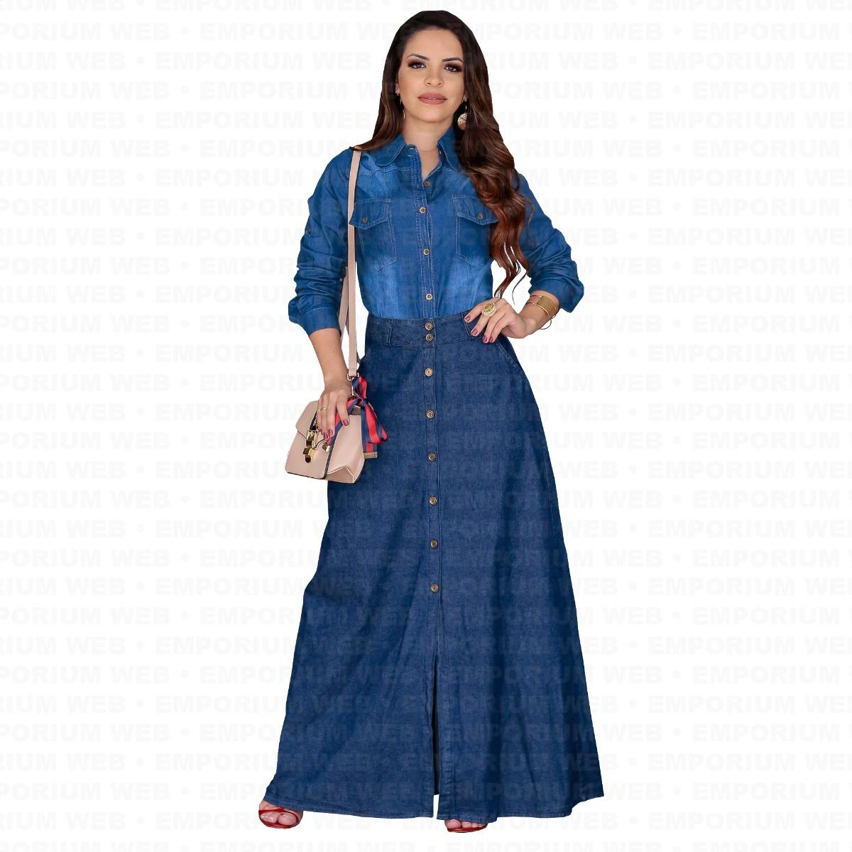 9369aa06c7 saia jeans longa botões tendência blog insta moda evangélica. Carregando  zoom.