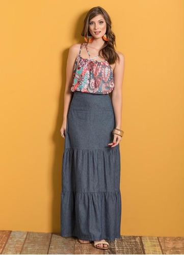 saia jeans longa evangélica feminina