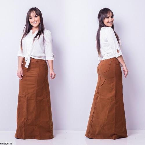 saia jeans longa frt - ferrugem