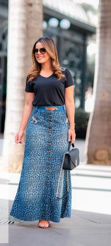 saia jeans longa joyaly - animal print