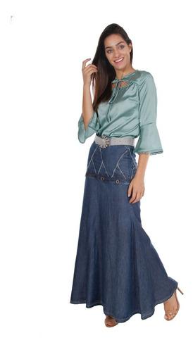 saia jeans longa  joyaly com cinto e ilhós