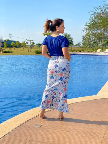 saia jeans longa joyaly floral