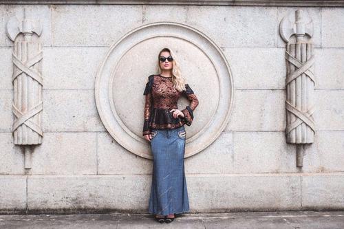 saia jeans longa joyaly jaqueline (jeans leve)