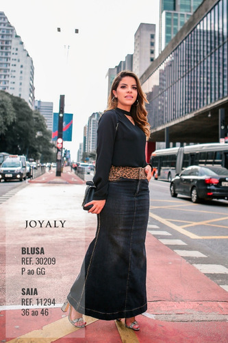 saia jeans longa joyaly - onça