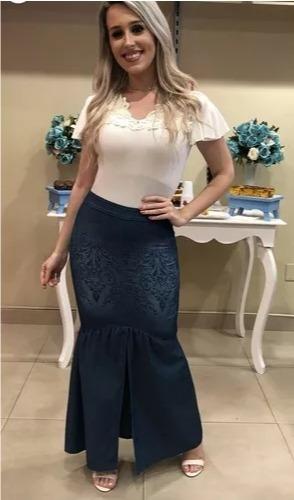 saia jeans longa sereia - mix nativa
