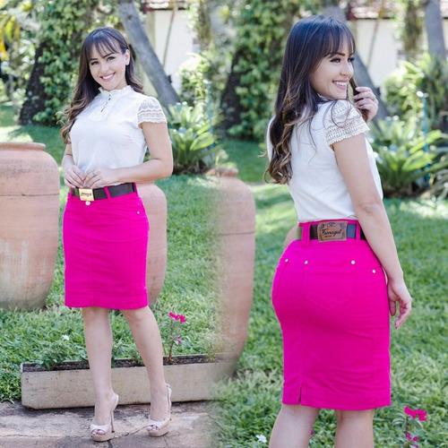 saia jeans longuete jeans pink frt