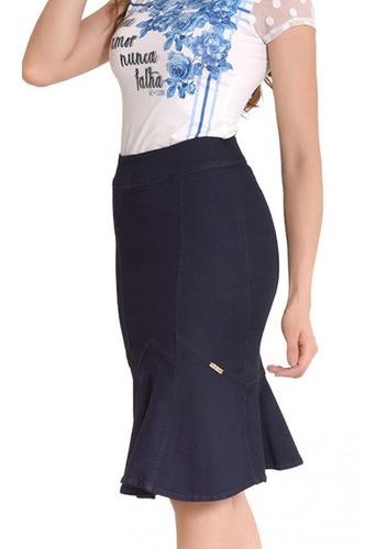 saia jeans midi evangélica feminina sol da terra moda