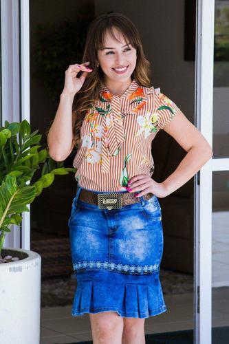 saia jeans midi longuete com cinto m38 g40 xg42 xxg44 g146