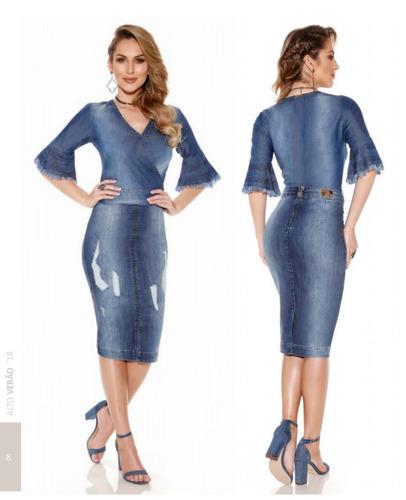 saia jeans midi titanium  moda evangélica