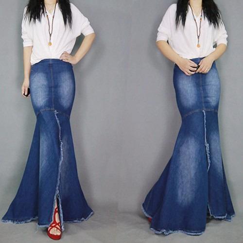 4958d3d35c Saia Jeans Sereia Longa Alta Qualidade Mulheres Elegantes - R  199 ...