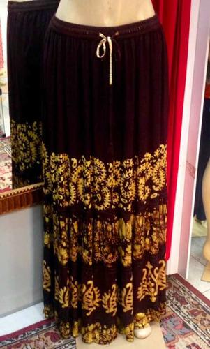 saia longa indiana, batik, bordado artesanal, marrom/amarelo