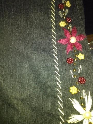 saia longa jeans bordada