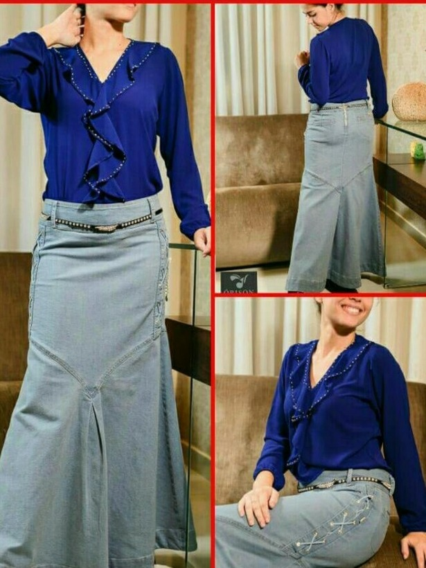 28419bb970 saia longa jeans claro (orison jeans) moda evangélica. Carregando zoom.