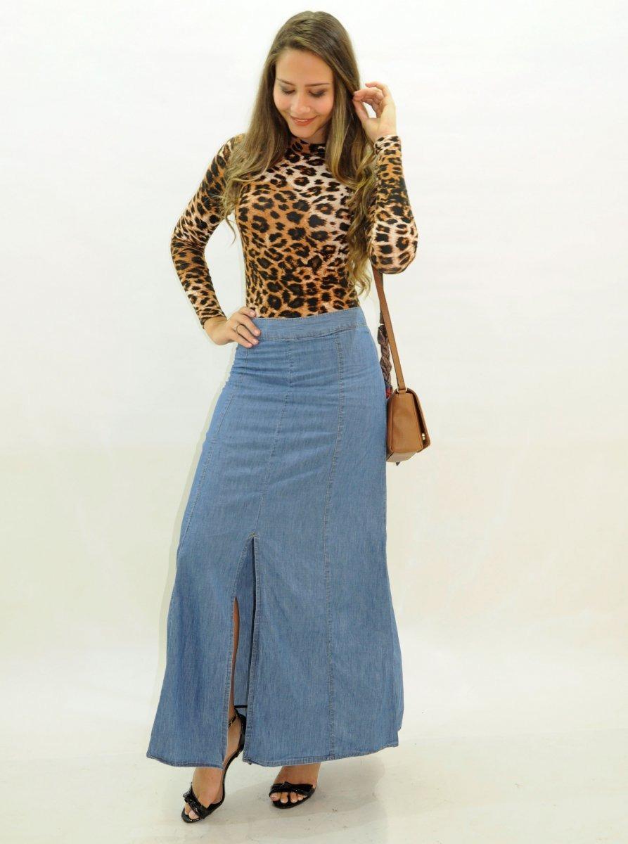 faf4dbb288 saia longa jeans com fenda na frente moda evangelica. Carregando zoom.