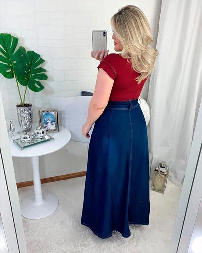 saia longa jeans feminina cint alta frete grátis moda gospel