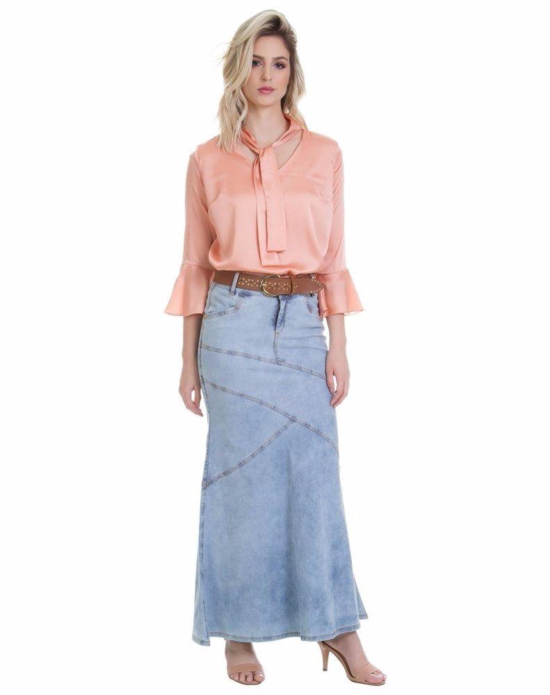 f13dffc397 saia longa jeans moda evangélica joyaly. Carregando zoom.