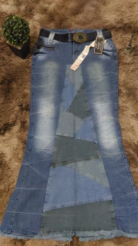 saia longa jeans sereia joyaly