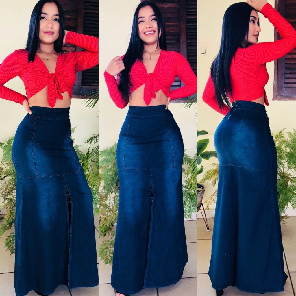 07110e4049a Saia Longa Feminina Longa Jeans Com Lycra - R  89