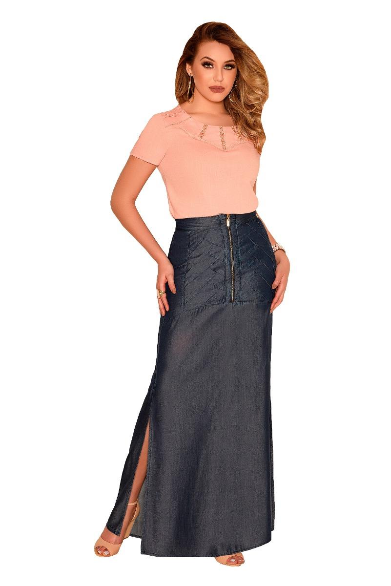 bd21b2cd9e saia longa nítido jeans zíper frontal moda evangélica. Carregando zoom.