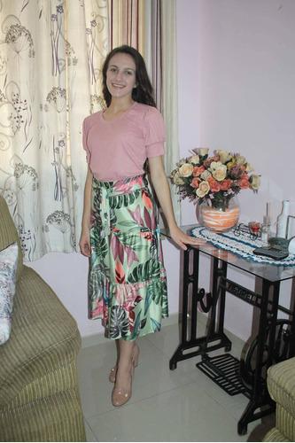 saia midi evangelica 3 marias rodada babados moda floral