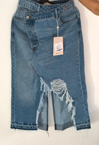 saia midi jeans destroyed super fashion