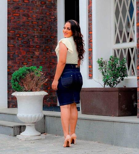 saia midi jeans feminina recortes evangélica justa elastano